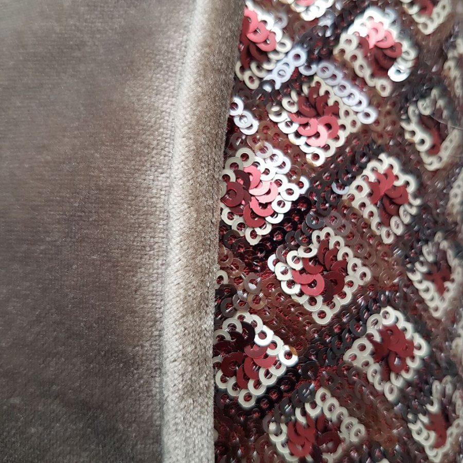 DEPLUSBELLE housse de coussin en velours BEIGE en sequins en motif geometrique avec passepoil beige foncé 60x60 cm!