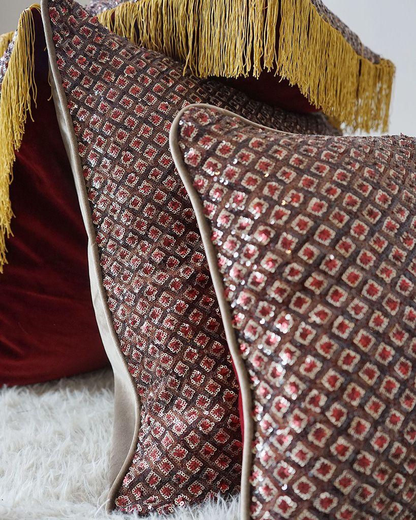 DEPLUSBELLE housse de coussin en velours BEIGE en sequins en motif geometrique avec passepoil beige 60x60 cm!