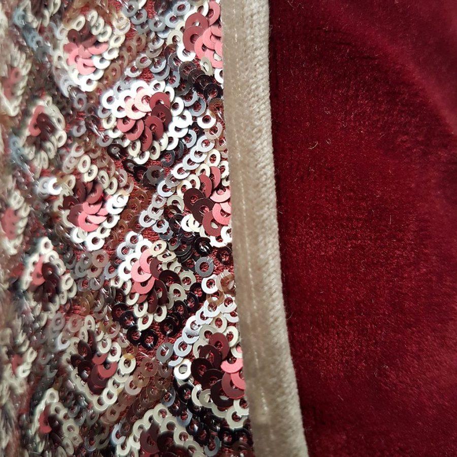DEPLUSBELLE housse de coussin festive en jersey pailletté et velours ROUGE avec passepoil beige 40x40 cm!