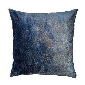 DEPLUSBELLE housse de coussin tissus bleu nuit bronzé geometrique 45x45 cm, possibilité sur mesure - Decadence!