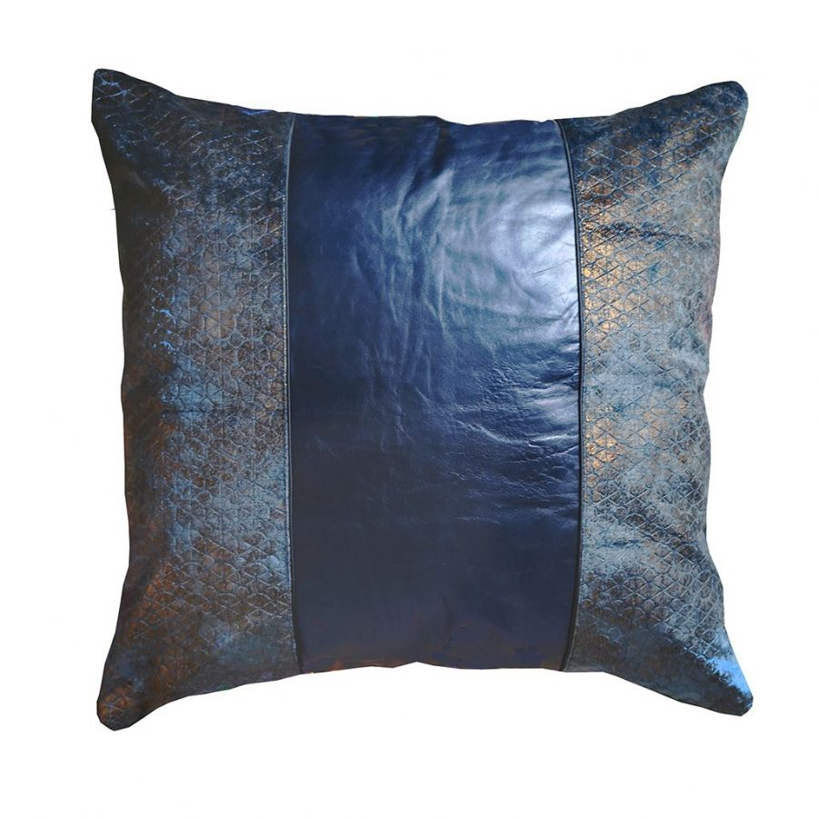 DEPLUSBELLE housse de coussin cuir bleu nuit bronze 45x45 cm!