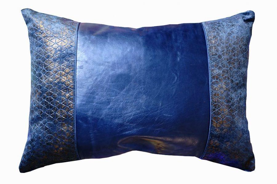 DEPLUSBELLE housse de coussin rectangulaire en cuir bleu nuit et tissus geometrique effet! Finition parfaite!